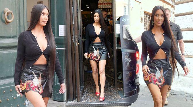 Kim Kardashian – Gorgeous Big Boobs Out in Rome