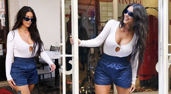 Kim Kardashian – Magnificent Big Braless Boobs Out in Rome