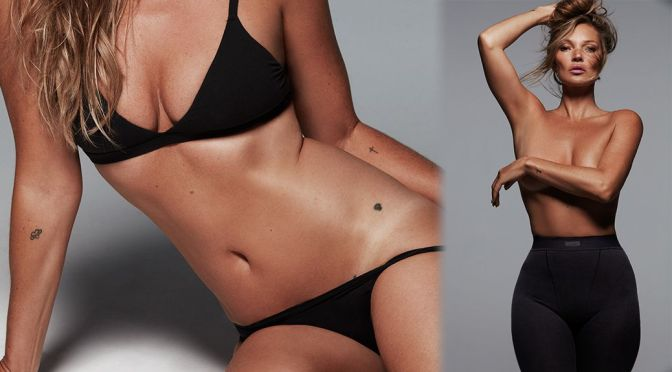 Kate Moss – Gorgeous Body in Braless Photoshoot for Kardashian Kim's SKIMS Collection