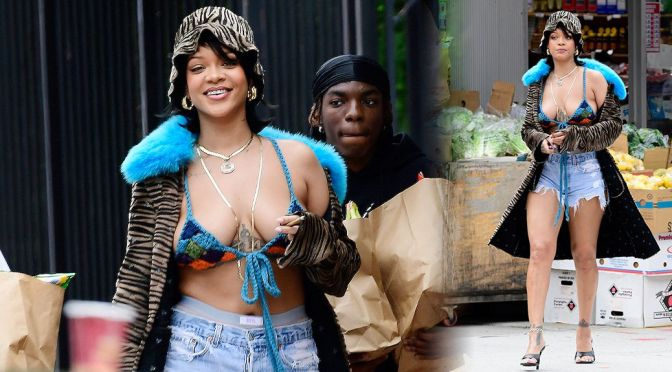 Rihanna – Gorgeous Boobs and Legs On the Music Video Set in New York