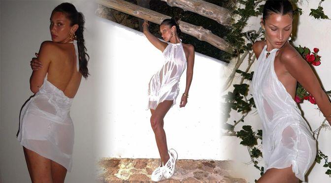 Bella Hadid – Sexy Braless Photoshoot in Sheer White Dress