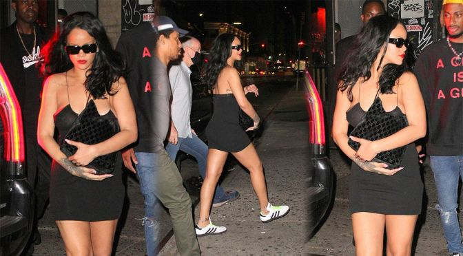 Rihanna – Sexy Legs and Braless Boobs in a Small Black Dress