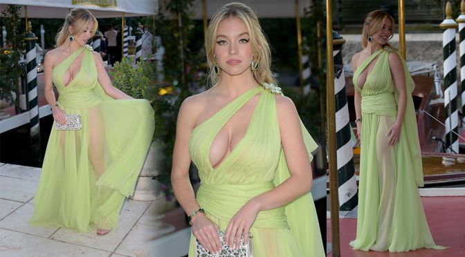 Sydney Sweeney – Fantastic Braless Boobs in Sheer Sexy Dress at Dolce & Gabbana Event in Venice