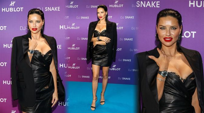 Adriana Lima – Big Boobs in Sexy Cleavage at Hublot x DJ Snake Party in Paris