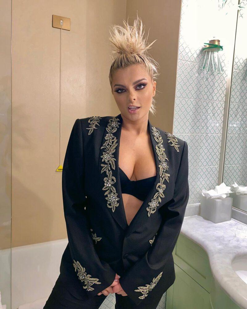 Bebe Rexha Sexy Cleavage In Black Bra