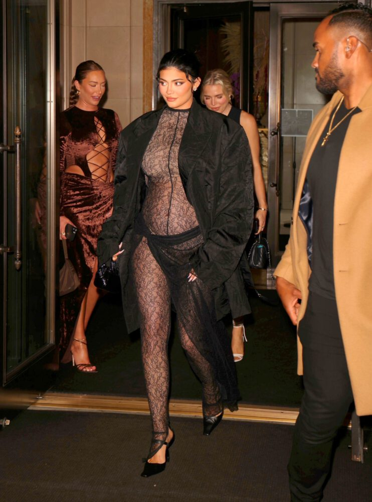 Kylie Jenner Pregnant In Sheer Outfit