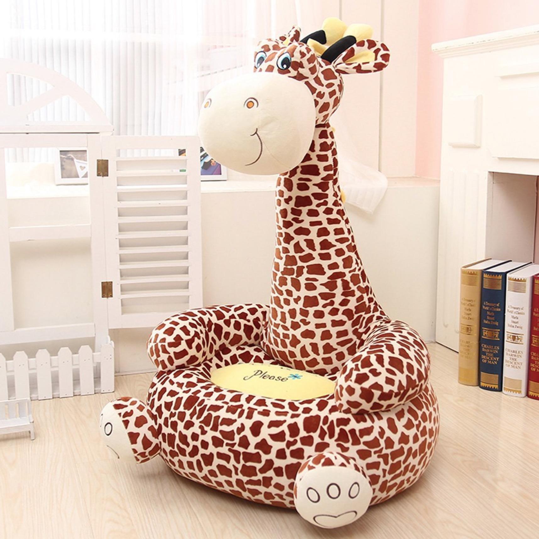 childrens plush chairs yellow side chair animal bean bag for children giraffe monkey