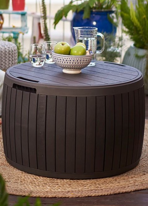 keter round outdoor storage table deal