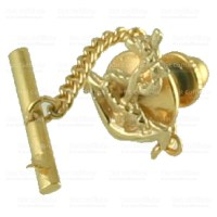 Gold Tie Tack 9Ct Anchor Personalised Engraved Box