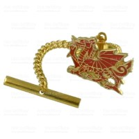 Gold Tie Tack 9Ct Enamelled Welsh Dragon