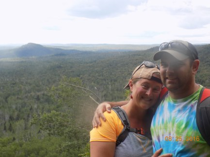"""My """"hot date"""" Tim and I at the top of Leveaux Mountain on the Superior Hiking Trail near Tofte, MN"""