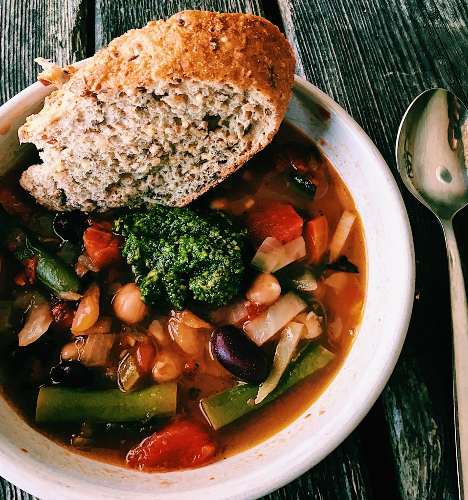Mixed Vegetable and Bean Soup with Basil Pesto