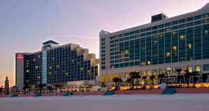 "The Hilton Daytona Beach Resort Ocean Walk Village offers 744 guest rooms, suites & cabanas. Located directly on the ""World's Most Famous Beach""."