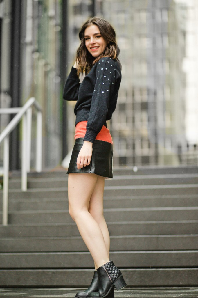 STAR STUDDED TURTLENECK and patchwork suede skirt 10