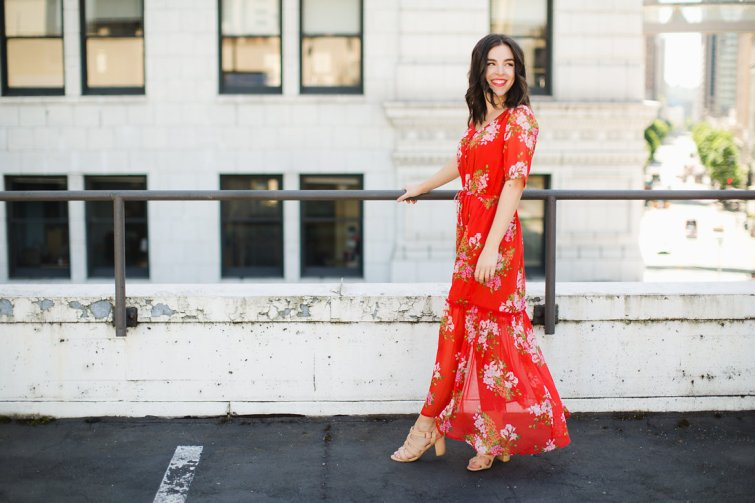 Affordable Clothing that Looks Expensive Who What Wear Red Floral Dress 4