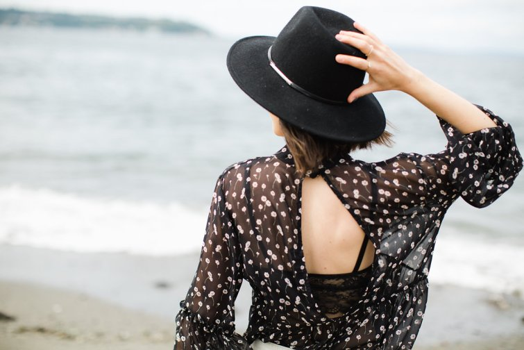 Black cut out floral blouse with black felt panama hat, denim shorts with lace trim (3)