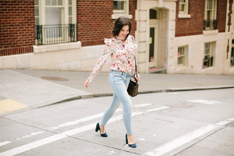 Ruffle statement blouse, seattle fashion blogger