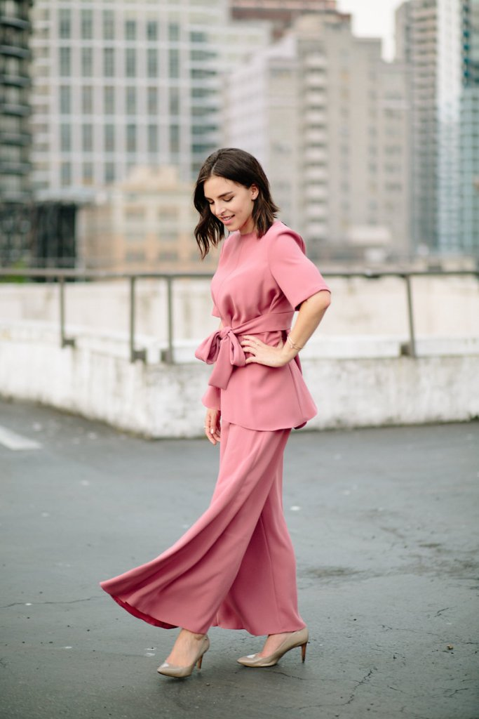 Color coordinated trousers and blose pink Zara