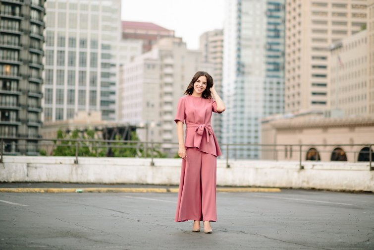 Pink color coordated separates with tie waist