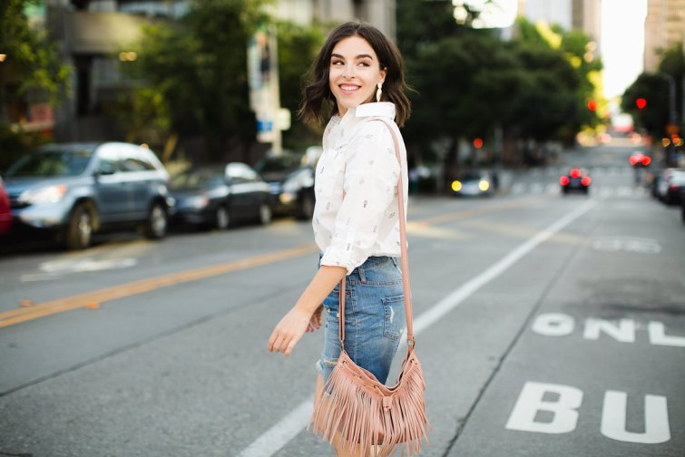 White cactus blouse and denim skirt