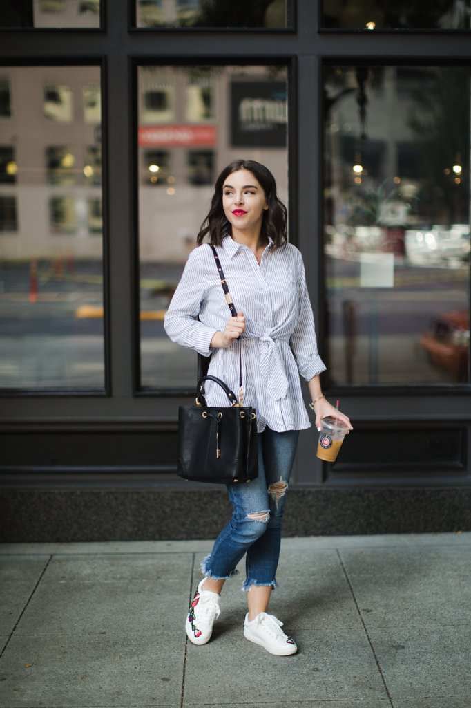 Striped blouse tie front distressed jeans embroidered sneakers
