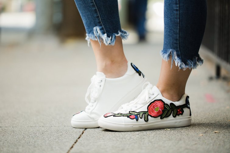 White Embroidered floral sneakers