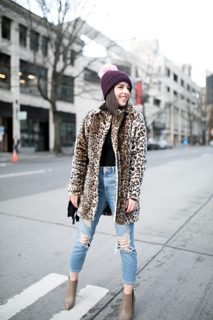 Faux fur leopard coat and beanie