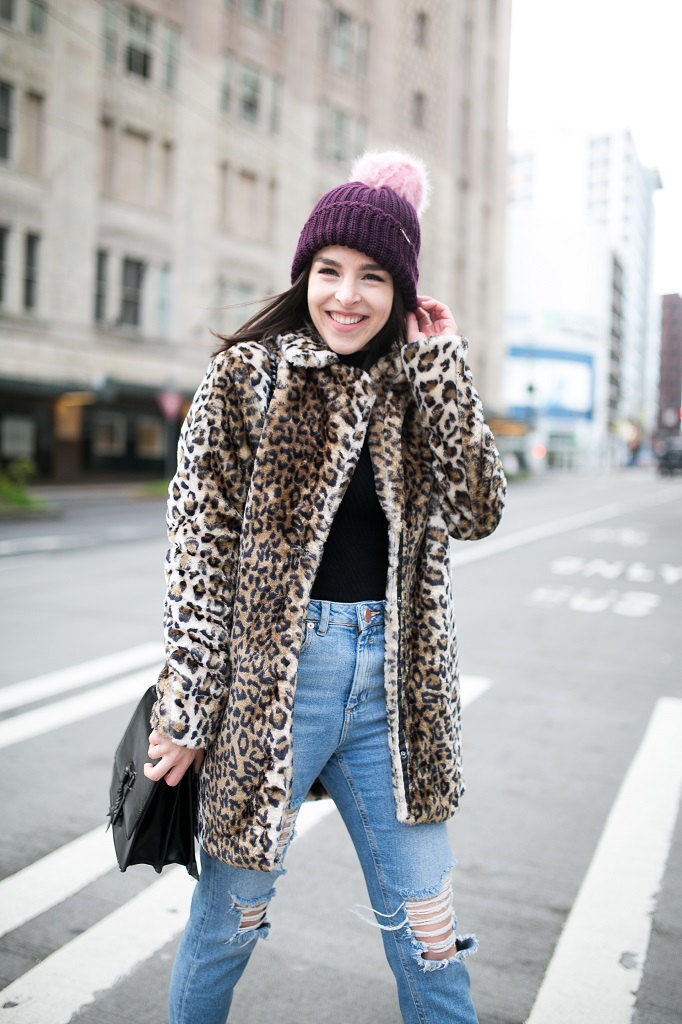 Faux fur long leopard coat and beanie with pom pom