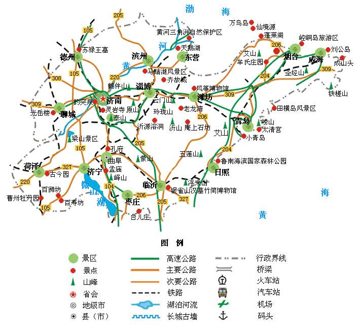 山東旅遊景點地圖 - 山東景點地圖 - 山東省旅遊交通地圖