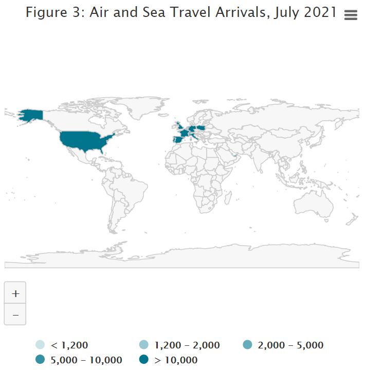 Air and Sea Travel Statistics July 2021