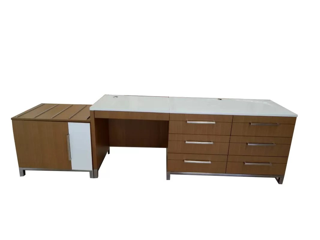 Hotel Furniture Glass Top Writing Desk With Multi Drawers