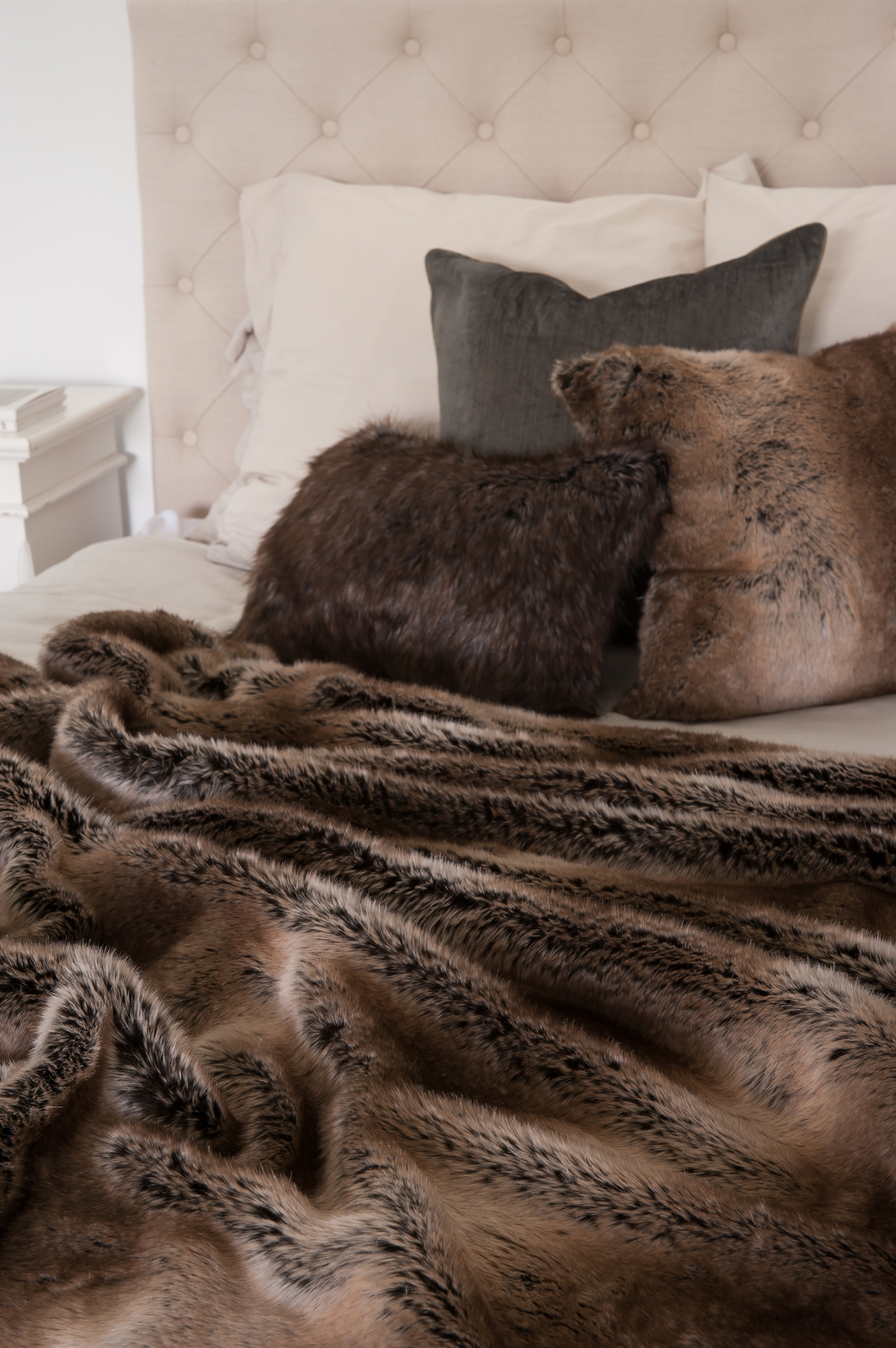 Hotel Luxury Collection  Striped Beaver Faux Fur Throw