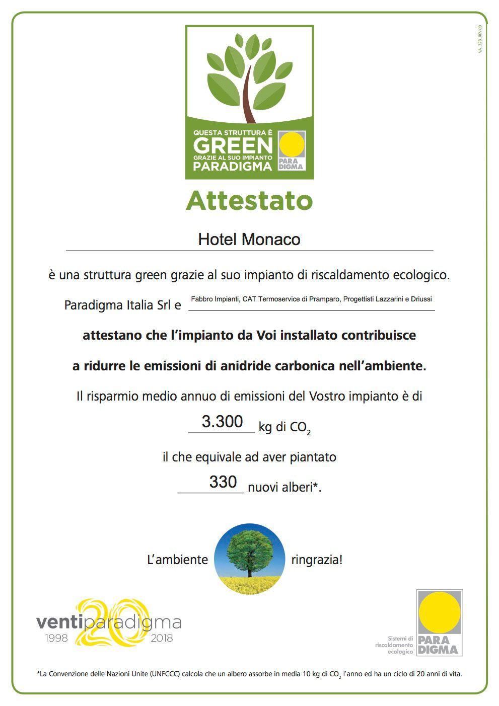 Attestato Strutture Green Hotelmonaco Piccinin Ok