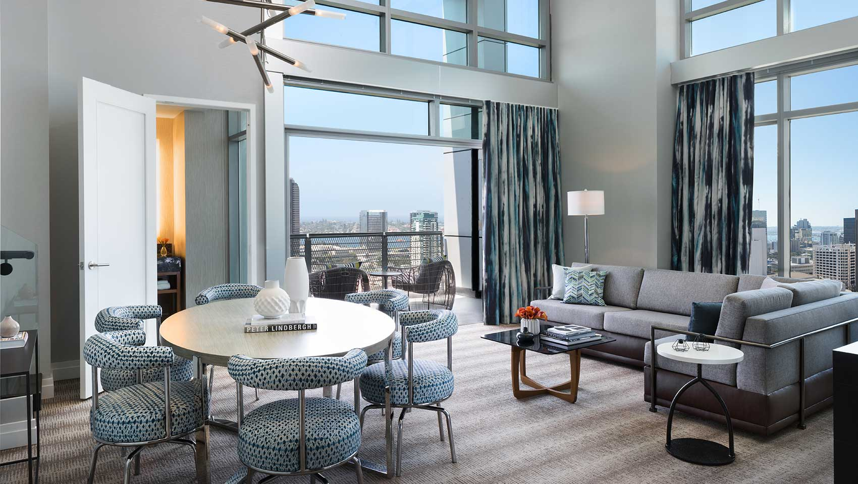 hotels with kitchens in san diego contemporary art for kitchen skyline collection kimpton palomar hotel suite living room