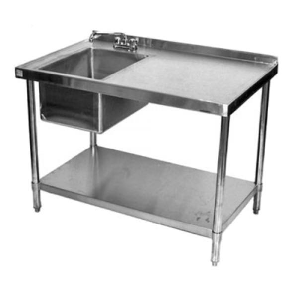 work table with prep sink sink on left 72 w x 24 d x 37 h overall 18 304 stainless