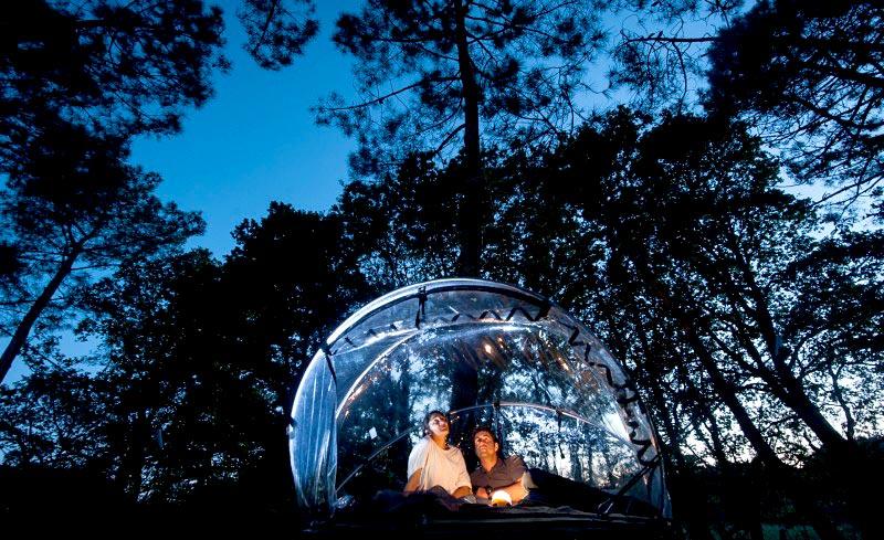 Tentebulle au Dihan  Dormir dans une bulle suspendue en Bretagne  Hotelsinsolitescom