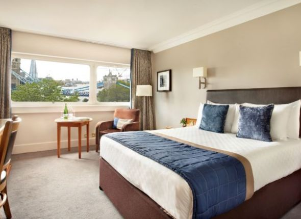 One of the beautiful dayrooms HotelsByDay now offers at Tower Hotel in London with striking view of Tower Bridge.