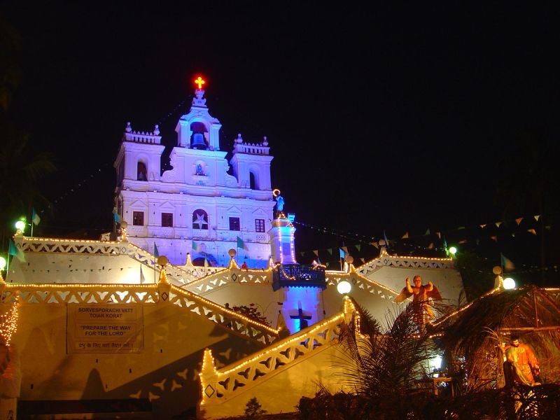 Christmas lights illuminating the Church of the Immaculate Conception in Panjim Goa.