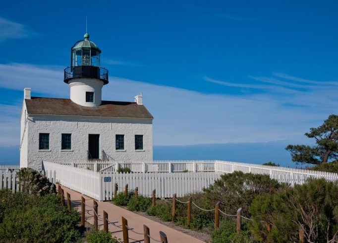 Clear blue skies make visiting the Point Loma lighthouse and Cabrillo National Monument the perfect San Diego daycation activity.