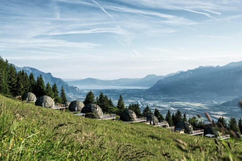 Landscape surrounding Whitepod eco luxury hotel in Swiss Alps.