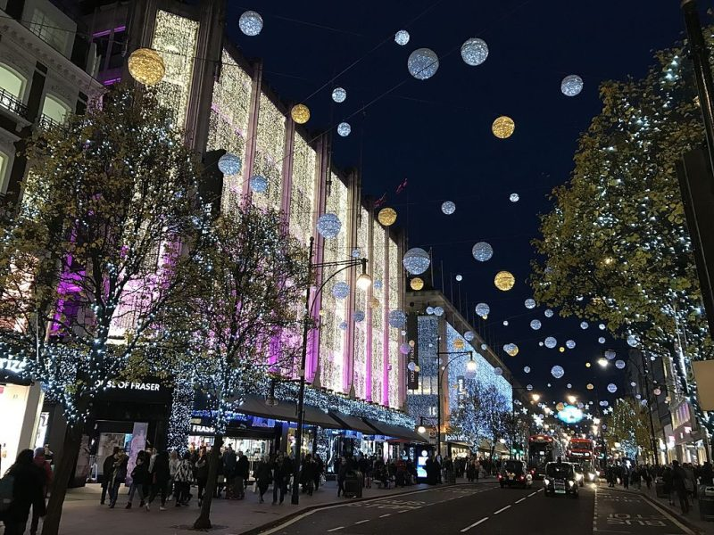 Magical Christmas and holiday lights shine on London street