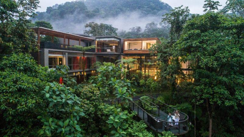 View of hotel in the rainforest with fog and foliage everywhere.