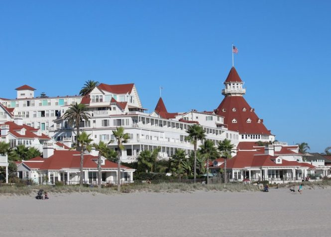 The beach and Hotel Del Coronado on Coronado Island in San Diego. A picturesque spot to relax for daycation relaxation.