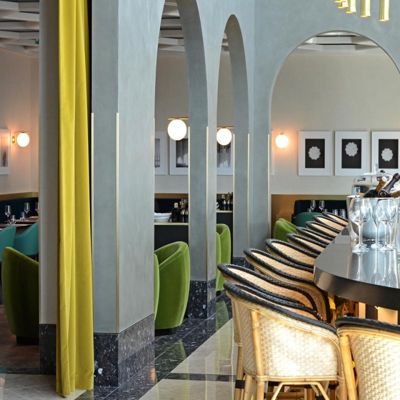 Shot of bar and dining room at I Love Paris by Guy Martin, located in Paris' Charles de Gaulle Airport