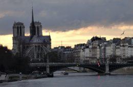 Paris skyline at sun sets.