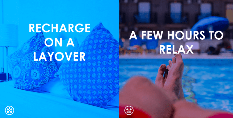 Get some rest or hang by the pool for a few hours on your next long layover with HotelsByDay.
