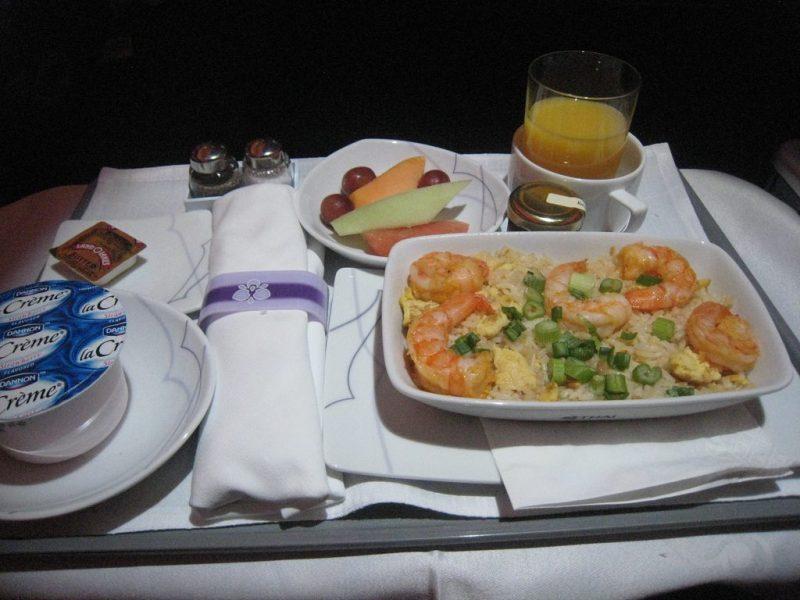 Fresh-looking shrimp dinner from Thai Airways.