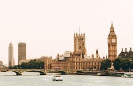 The Houses of Parliament and Big Ben in London from the RIver Thames