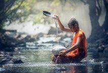 child in river