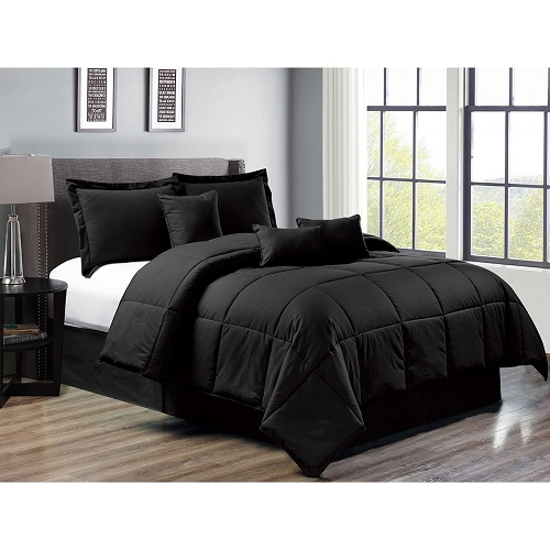 7 piece down alternative comforter set bed in a bag bedding cal king size black home quality starting at 75 05 each